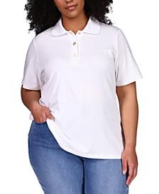 Plus Size Logo Snap Polo Top