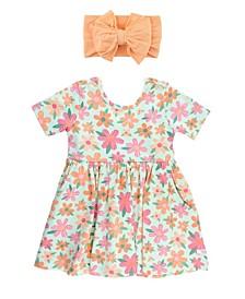 Baby Girls Twirl Dress and Bow Headband Set