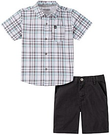 Little Boys 2-Piece Plaid Short Sleeve Shirt and Solid Shorts Set