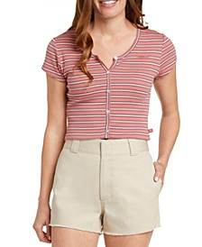 Juniors' Striped Ribbed-Knit Cropped Top