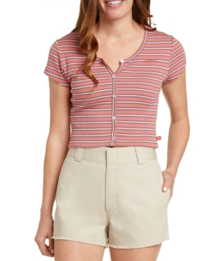 Dickies Knits JUNIORS' STRIPED RIBBED-KNIT CROPPED TOP