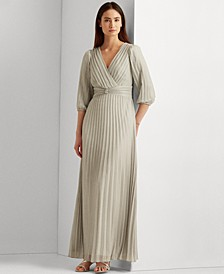 Pleated Metallic Georgette Gown