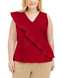 Plus Size Sleeveless Ruffled Top, Created for Macy's