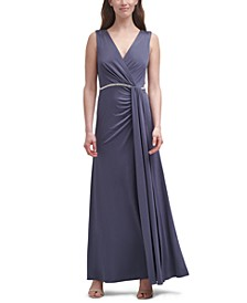 Ruched Faux-Wrap Gown