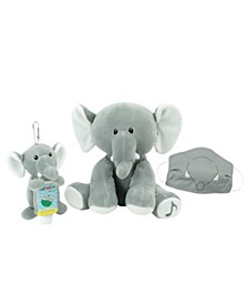 WelloBeez™ Musical Clean Crew™ Plush Elephant and Plush Keychain with Empty, Refillable Sanitizer Bottle and Child's Face Mask