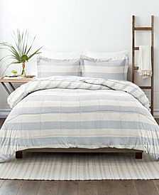 Home Collection Premium Down Alternative Distressed Stripe Reversible Comforter Set, Full/Queen