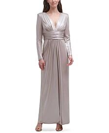 V-Neck Metallic Gown
