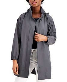 Organic Stand-Collar Hooded Zip-Front Coat