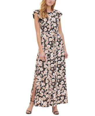 Printed Ruffled-Sleeve Dress