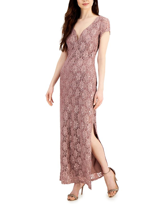 Connected - Sequined Lace Column Gown