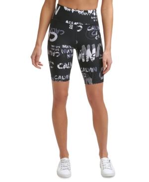Calvin Klein Performance High-waist Bike Shorts In Gray