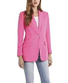 Petite Long Sleeve Luxe CDC One Button Blazer