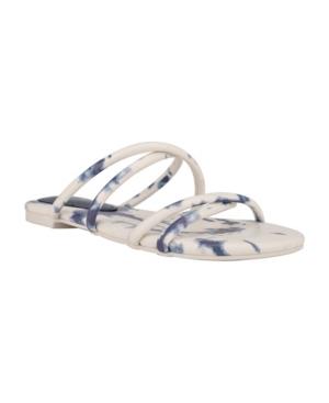 Nine West Sandals WOMEN'S BEVA CRISS-CROSS SLIP-ON FLAT SANDALS WOMEN'S SHOES