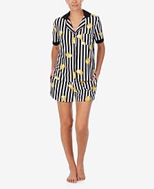 Women's Short Sleeve Notch Boxer Pajama Set