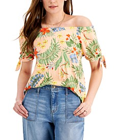 Petite Printed Off-the-Shoulder Tie Sleeve Top, Created for Macy's