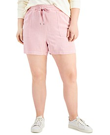 Plus Size Tie-Front Shorts, Created for Macy's