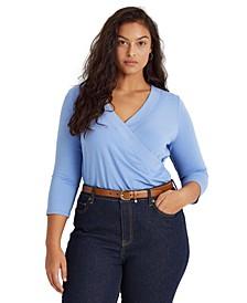 Plus Size Faux-Wrap Jersey Top