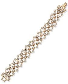 Crystal & Imitation Pearl Lattice Link Flex Bracelet