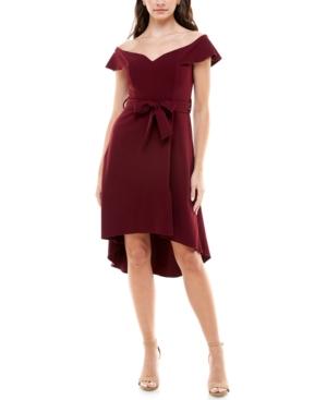 Juniors' Off-The-Shoulder High-Low Dress