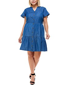 Trendy Plus Size Cotton Tiered A-Line Dress