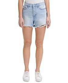 Cotton Frayed Denim Shorts