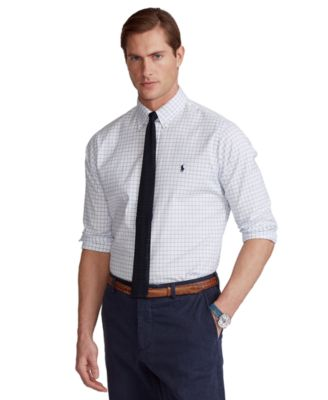 폴로 랄프로렌 Polo Ralph Lauren Mens Classic-Fit Checked Oxford Shirt,White/Blue