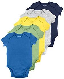 Baby Boy Short Sleeve Bodysuits with Dinosaur Print, 5 Pack