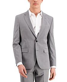Men's Gray Textured Modern-Fit Wool Suit Separate Jacket