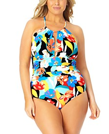 Plus Size Printed High-Neck One-Piece Swimsuit
