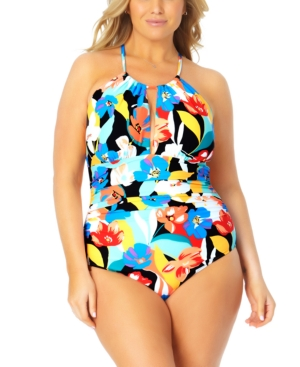 Plus Size Printed High-Neck One-Piece Swimsuit Women's Swimsuit