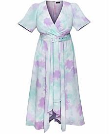 Trendy Plus Size Tie-Dye Faux-Wrap Dress