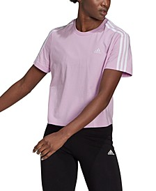 Women's Cotton Cropped 3 Stripe T-Shirt