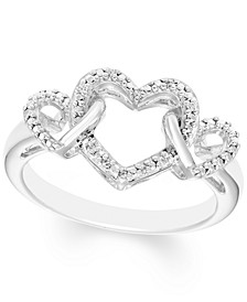 Diamond Accent Triple Heart Ring in Sterling Silver