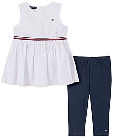 Toddler Girls 2-Piece Self-Textured Tunic and Capri Leggings Set