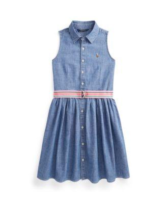 폴로 랄프로렌 Polo Ralph Lauren Big Girls Indigo Chambray Shirt Dress