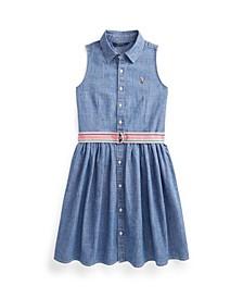 Big Girls Indigo Chambray Shirt Dress