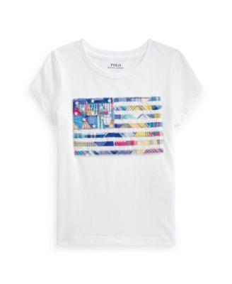 폴로 랄프로렌 여아용 반팔티 Polo Ralph Lauren Toddler Girls Madras-Flag Jersey T-shirt,White