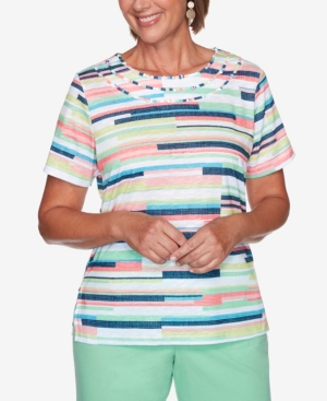 Alfred Dunner Tops WOMEN'S MISSY ISLAND HOPPING TEXTURE BIADERE TOP