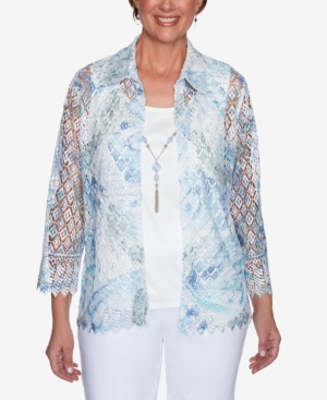 Alfred Dunner Clothing WOMEN'S MISSY FRENCH BISTRO BUTTERFLY LACE TWO FOR ONE TOP
