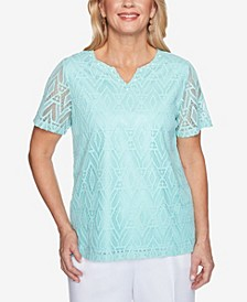 Women's Missy Classics S1 Diamond Lace Short Sleeve Top