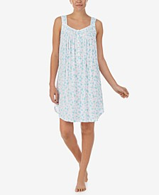 Floral-Print Sleeveless Chemise Nightgown