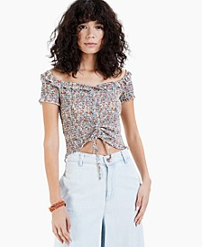 Juniors' Smocked Cropped Top