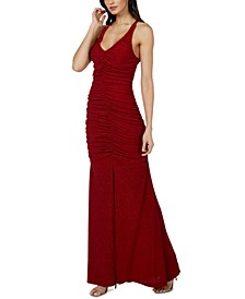 Juniors' Ruched-Front Glitter-Knit Gown