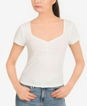 Juniors' Rib-Knit Sweetheart T-Shirt