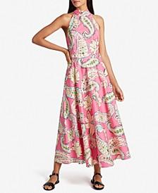 Mock-Neck Printed Dress