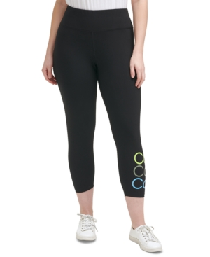 Calvin Klein Performance Plus Size Logo High Waist 7/8 Leggings In Bright Turquoise