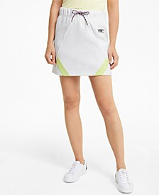 Drawstring-Waist Mini Skirt