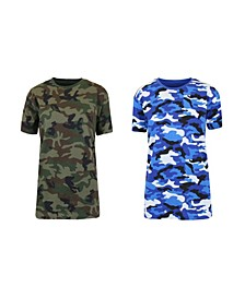 Women's Loose Fit Short Sleeve Crew Neck Camo Printed Tee, Pack of 2