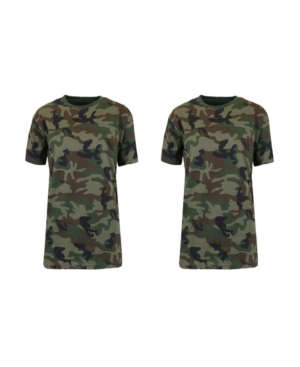 Galaxy By Harvic Tops WOMEN'S LOOSE FIT SHORT SLEEVE CREW NECK CAMO PRINTED TEE, PACK OF 2