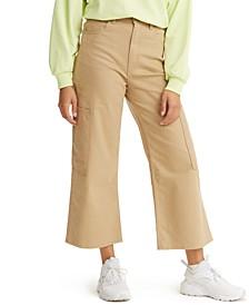 Women's High-Waist Wide-Leg Cropped Utility Pants